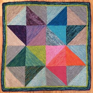 Stunning knitted blanket - lokks like modern art or painted. Wonderful!