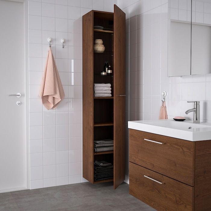Godmorgon High Cabinet Brown Stained Ash Effect 15 3 4x12 5 8x75 5 8 Ikea En 2020 Rangement Mural Salle De Bain Decoration Interieure Salle De Bain Ikea