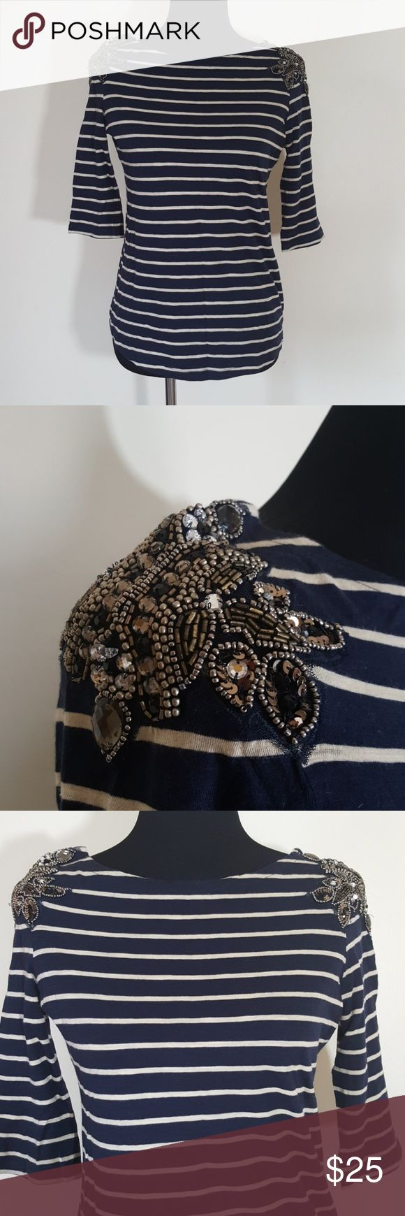 River Island Embellished Nautical Top Size 6 Excellent condition  Beautiful detailing on shoulder  Size 6  3/4 sleeves River Island Tops
