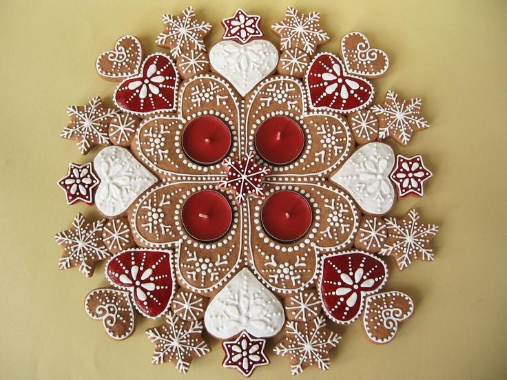 Moha Konyha: Mézeskalács adventi koszorú piros szívekkel -- gingerbread advent light wreath