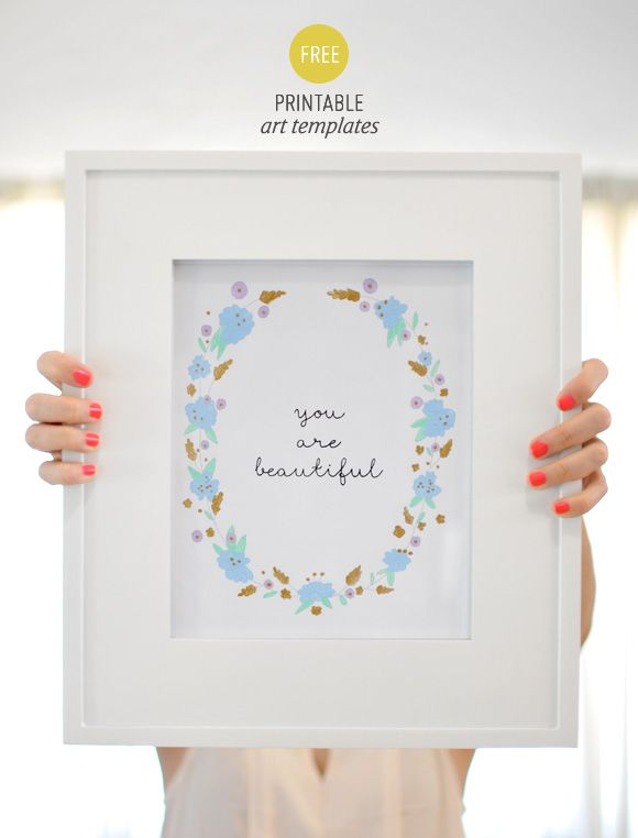 Lámina imprimible You are beautiful. Viene en blanco y negro para customizar con los colores que queramos, y también hay otra sin texto solo con las flores // You are beautiful art printable (two versions: text or without) to print out and customize.