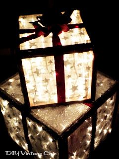 DIY Vintage Chic: How to Make Lighted Christmas Presents for Outdoors ~ I REALLY must get the hubby to build me these frames!!!