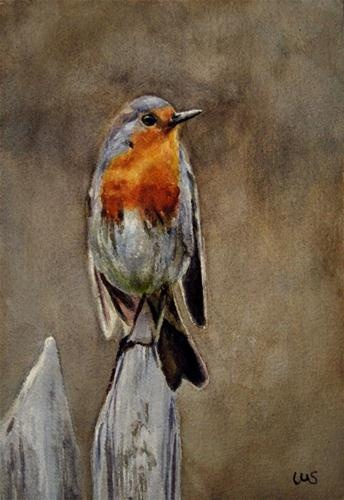 """Robin"" - Original Fine Art for Sale - © Ulrike Miesen-Schuermann"