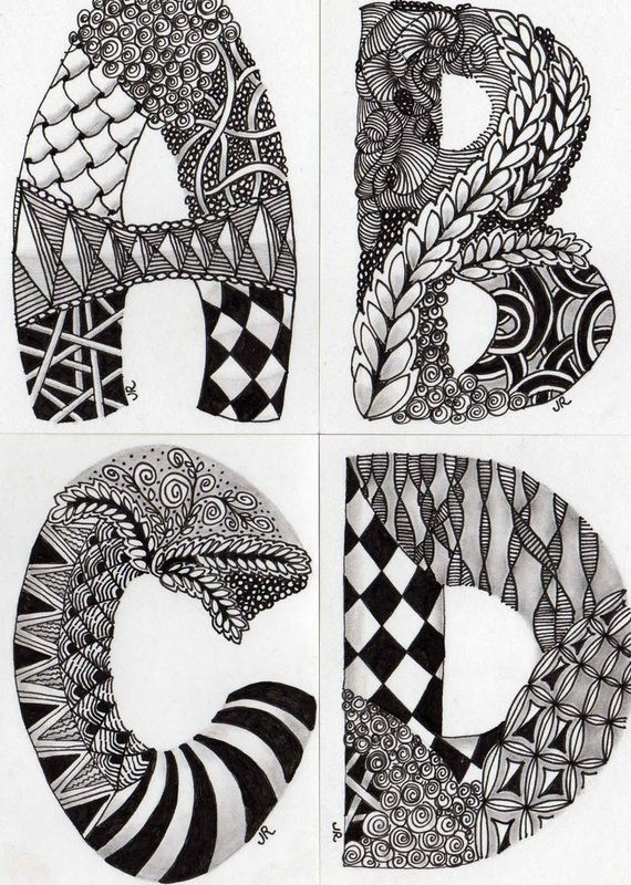Zentangle Patterns for Beginners | Ornate Scrolled Alpha Ideas from Judy West