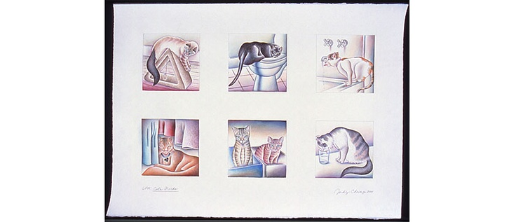 """6 PM, Cute Tricks"" Watercolour by Judy Chicago, 2001."
