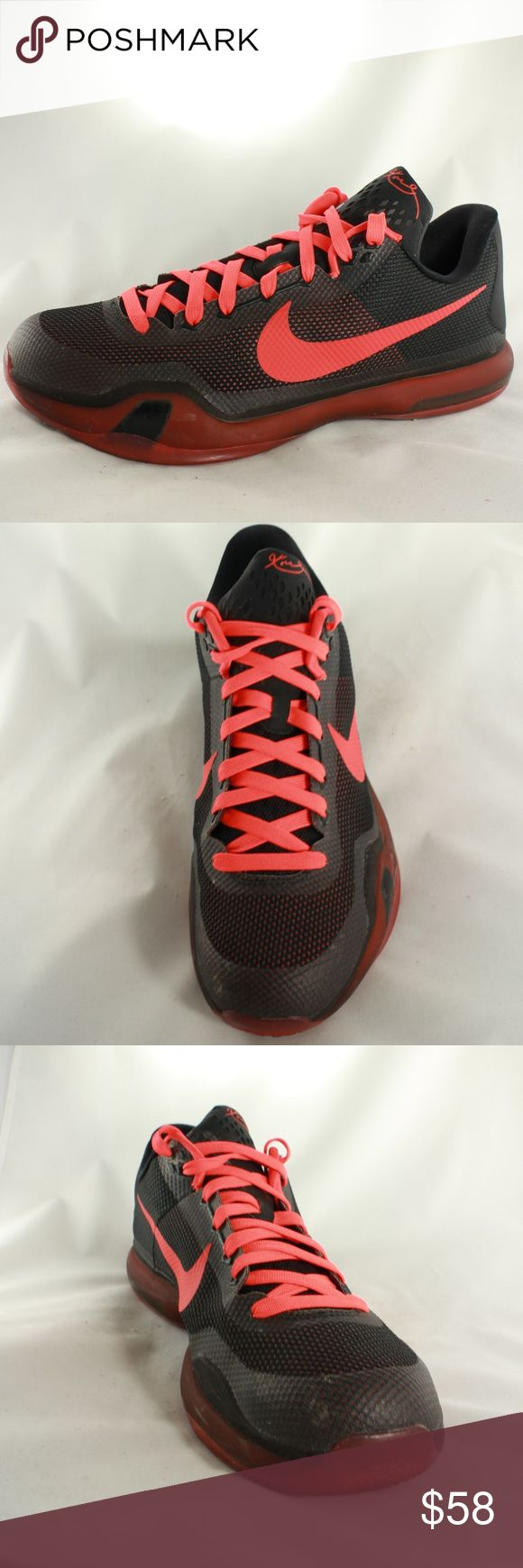 Nike Air Zoom Kobe Bryant X 10 Low Black Crimson Excellent condition Nike Kobe series low tops. Discontinued series. upper is like new. Laces and swoosh are a bright crimson red. Insole is super clean, only the sticker on the insole pad is worn off. Sole is grippy with minimal wear. Upper is 10/10 condition, sole is 9.5/10.  Size 13 Nike Shoes Sneakers
