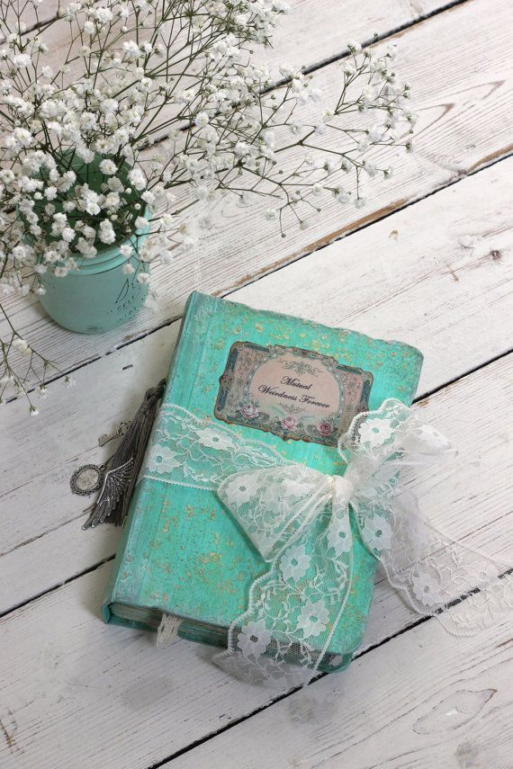 Mint wedding guest bookphoto album OR shabby от LotusBluBookArt