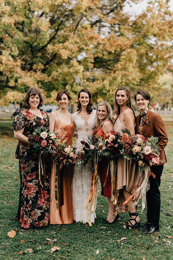 Mismatched Bridesmaids Dresses Don T Stay Behind With The Mismatched Trend An Orange Bridesmaid Dresses Burnt Orange Bridesmaid Dresses Mismatched Bridesmaids