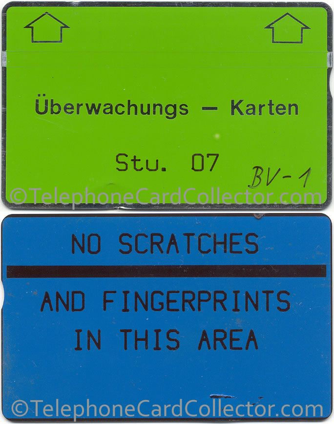Uberwachungs Karten (Monitoring Card) for Structure 7 (Great Britain) incredibly? with  a notch! The (green) front and (blue) reverse of this card is shown.