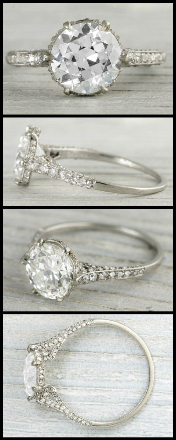 Old european cut elegant diamond solitaire ring in platinum and 18k - Best 25 European Cut Diamonds Ideas Only On Pinterest Vintage Engagement Rings Vintage Rings And Vintage Gold Engagement Rings
