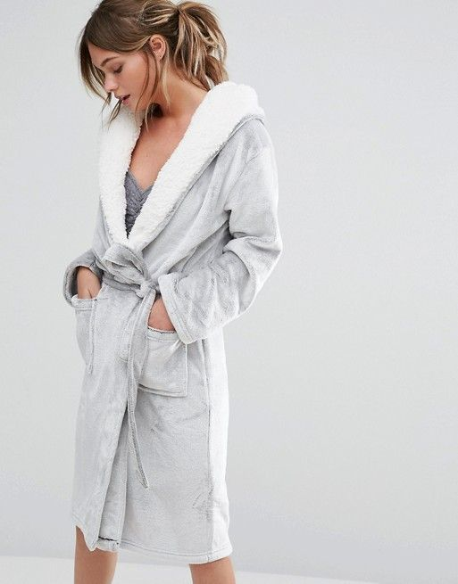 New Look | New Look Frosted Fluffy Robe Super soft-touch knit Fluffy lining Fixed hood Open front Self-tie belt Functioning pockets Machine wash 100% Polyester