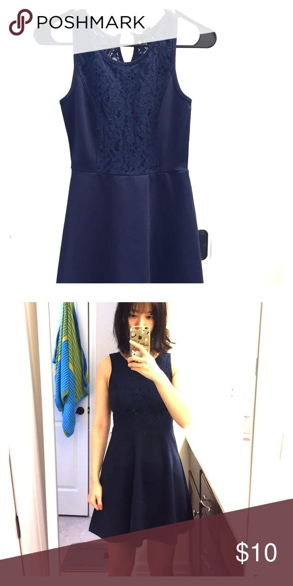Lace navy skater dress from forever 21 Although it's from forever 21, the quality of the dress is surprisingly good. It's a really nice little dress. Fits really well. Forever 21 Dresses Mini