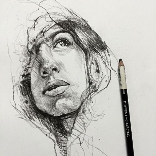 Charcoal study for a painting..