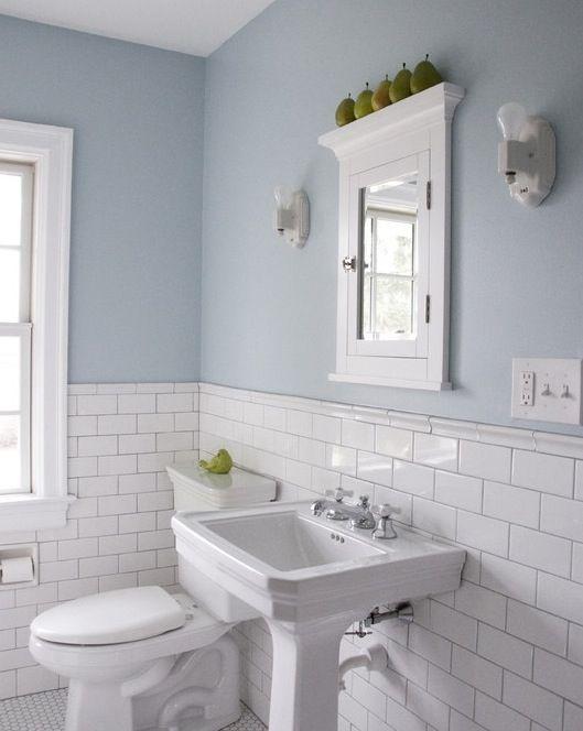 subway tile wainscoting -- kids bathroom