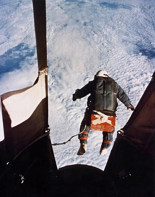 August 16, 1960: USAF Capt. Joseph W. Kittinger steps from a balloon-supported gondola at the altitude of 31,333 m (102,800 ft). In free fall for 4 min and 36 sec, at speeds up to 614 mph and temperatures as low as -94 degrees Fahrenheit, he opens his parachute at 5,334 m (17,500 ft). World records: highest parachute jump, longest parachute free fall, fastest speed by a human through the atmosphere, highest ascent in an open gondola. Photo credit: U.S. Air Force: Spaces, Sky, The Edge, World Records, Joseph Gordon-Levitt, Joe Kitting, Balloon, Joe Kits, Joseph Kits