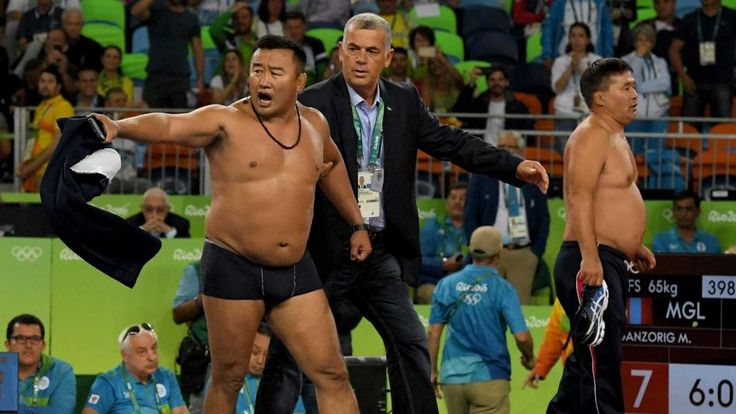 2016 Rio Olympic Games | NBC Olympics; Mongolian coach strips in protest.  oh no he didn't.....