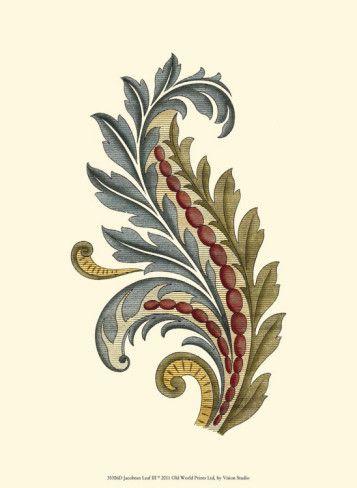 Jacobean Leaf III Art Print -- gorgeous!
