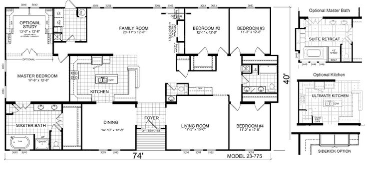 Triple Wide Mobile Home Floor Plans | Manufactured Home and Mobile Home Floor Plans: Welburg