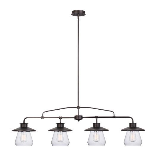 in a oilrubbed bronze finish with clear glass shades the pendant boasts