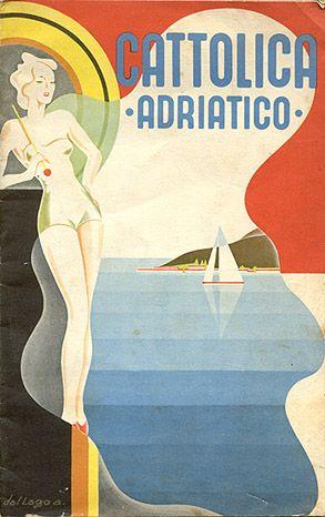Cattolica 1937, Riviera adriatica Italy . Vintage Deco Travel Poster . www.varaldocosmetica.it/en