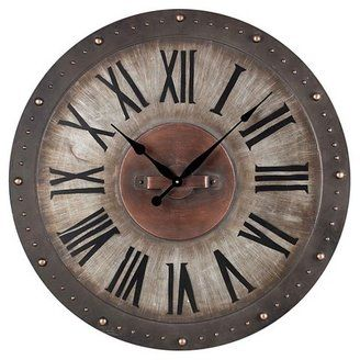 Beautiful large wall clock. rustic or farmhouse? Love the color and wood look. Kind of industrial. #afflink