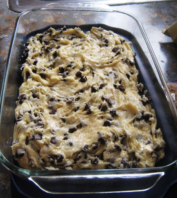 Lazy Cookie Cake Cookies:  1 box yellow or white cake mix  2 eggs beaten  5 T melted butter  2 C mini chocolate chips  Mix together, refrain from eating it raw, put in a greased 9×13 pan and bake at 350 for 20 min.