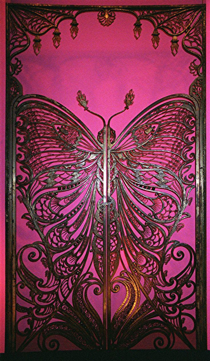 Butterfly Gate, Brooklyn MuseumNouveau Butterflies, Art Nouveau, Gardens Gates, Artnouveau, Pink, Wrought Iron, Brooklyn Museums, Butterflies Doors, Butterflies Gates