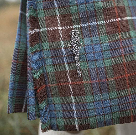 Celtic Thistle Kilt Pin Silver Scottish Kilt Pin  Thistle