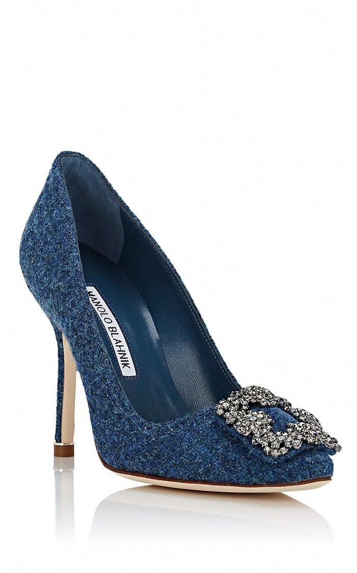 499ecc30 Manolo Blahnik Hangisi Tweed Pumps - 7.5 Blue #ManoloBlahnik ...