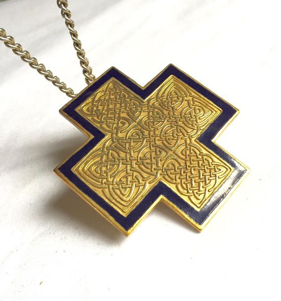 CROSS ENAMEL NECKLACE Fabulous Vintage Gold Filigree Large gold Pendant On Thick Gold Chain