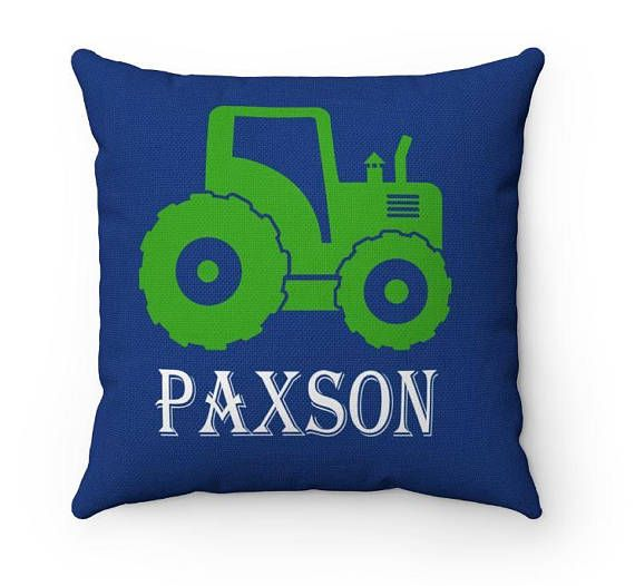Tractor Throw Pillow Tractor Kids Pillow Tractor Bedroom Decor Navy Blue Green Tractor Nursery Decor Construction Kids Decorative Pillow