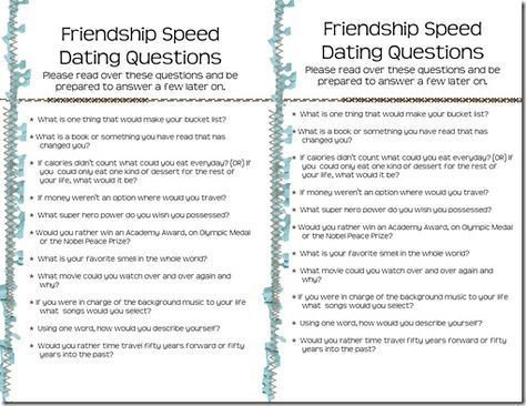 speed dating list of questions