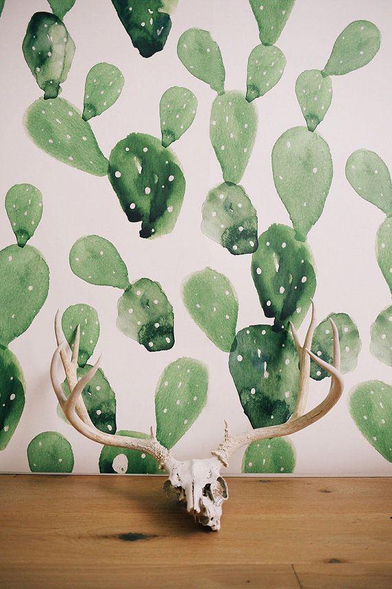 VENTA Cactus acuarela Mural de pared grande por anewalldecor