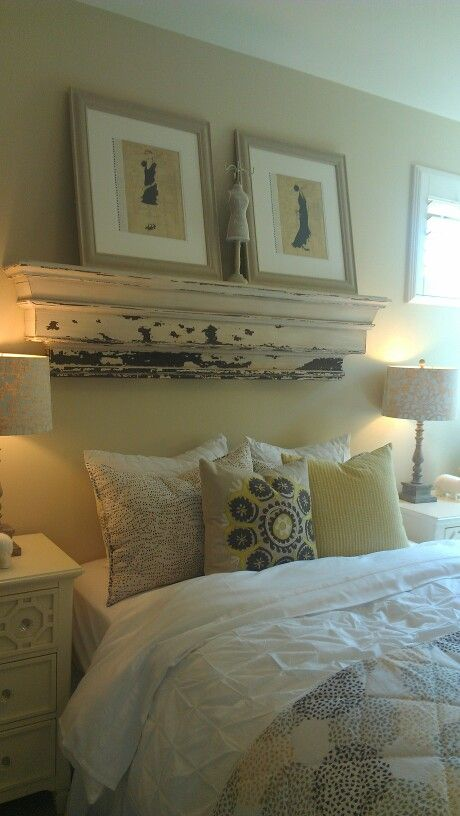 Shaby chic for the guest room - love the shelf in place of a headboard