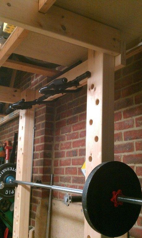 Homemade wooden power rack workout equipment pinterest for Diy squat rack metal