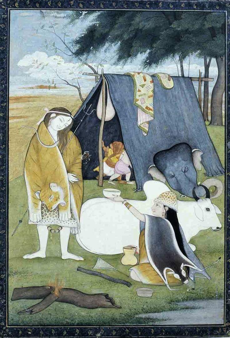 Shiva and family.  Present Location: Ann Arbor, University of Michigan. Location: Kangra, Kangra District, Himachal Pradesh, India Date: ca 1790 - 1800 CE.