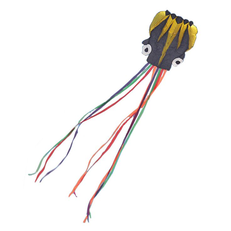 Long Colorful Tail Software Made Octopus Kite With Line,black/yellow