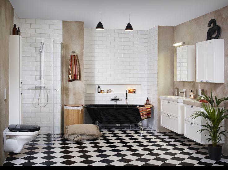 Mellanstort och trendigt badrum med en industri-lantlig känsla. | GUSTAVSBERG