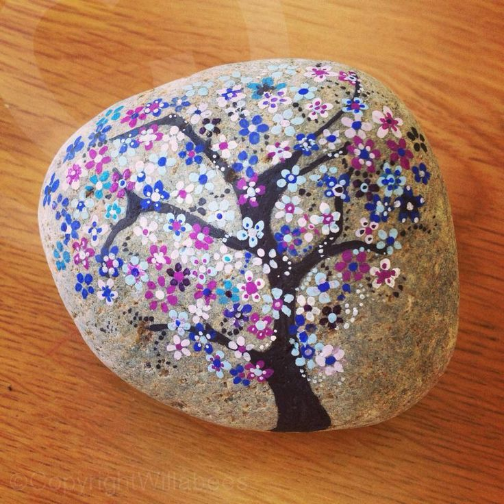Hand painted tree on a rock