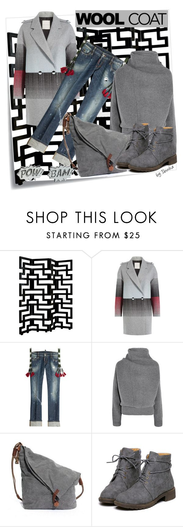 Wool Coat by ibinka on Polyvore featuring Acne Studios, Marco de Vincenzo, Dsquared2, Edge Only, Brownstone and Post-It