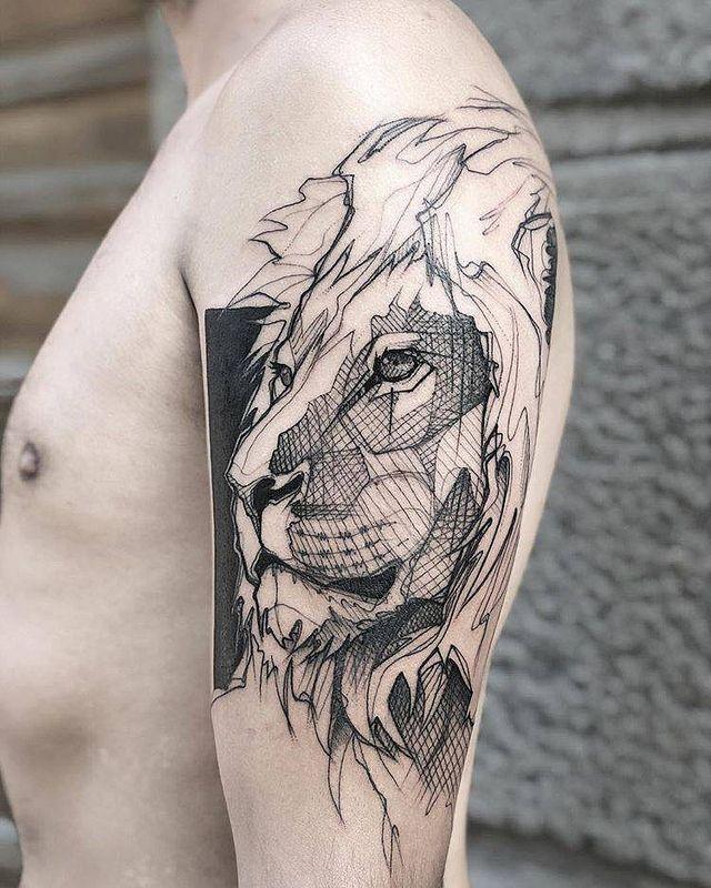 Tatuajes Leones Tatuaje Geometrico De Leon Tatuajes De Leon Tatuajes Leones
