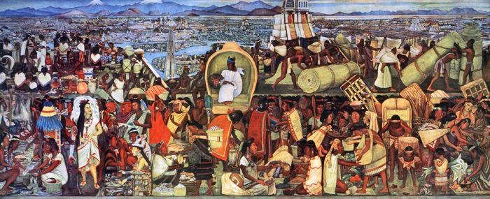 Mural: El mercado de Tlatelolco, autor: Diego Rivera, lugar: Palacio Nacional, México D.F. año: 1945. Considero que esta obra puede coadyuvar de manera transversal para conocer un poco acerca de la historia de México, se puede observar como era el contexto social, político, económico, geográfico y cultural alrededor del comercio en el mercado de Tlatelolco.