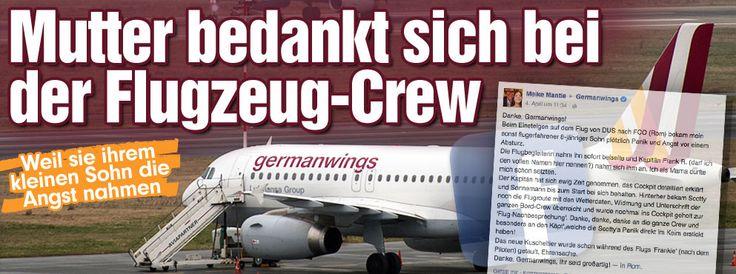Weil sie ihrem Sohn (8) die Angst nahmen: Mutter dankt Flugzeug-Crew auf Facebook http://www.bild.de/news/inland/germanwings/crew-nimmt-jungen-angst-vorm-fliegen-40476796.bild.html