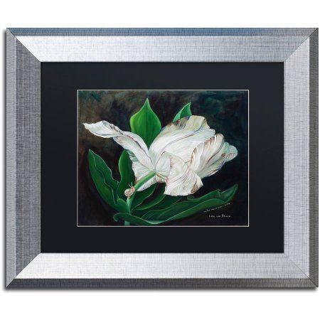 Trademark Fine Art 'Gletcher Tulip' Canvas Art by Lily van Bienen, Black Matte, Silver Frame, Size: 11 x 14