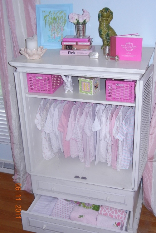 Tension Rod In An Armoire For Baby Clothes