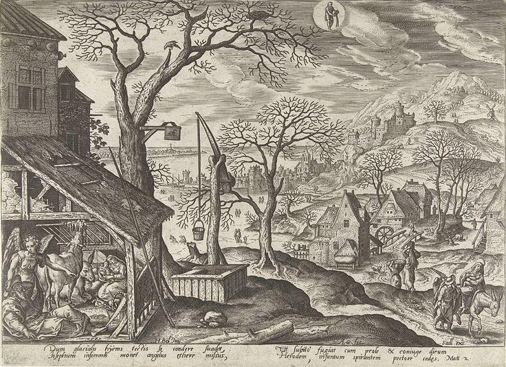 Adriaen Collaert   Januari: Jozef wordt door een engel gewaarschuwd, Adriaen Collaert, Sadeler, 1585   Een winterlandschap. In de lucht het astrologisch teken van januari, de Waterman. In de linkeronderhoek de stal waar Jozef en zijn gezin liggen te slapen. Jozef wordt door een engel gewekt en gewaarschuwd voor de plannen van Herodes (Mat. 2). In de rechteronderhoek vertrekt het gezin naar Egypte. De prent heeft een Latijns onderschrift en is deel van een serie over het leven van Christus…