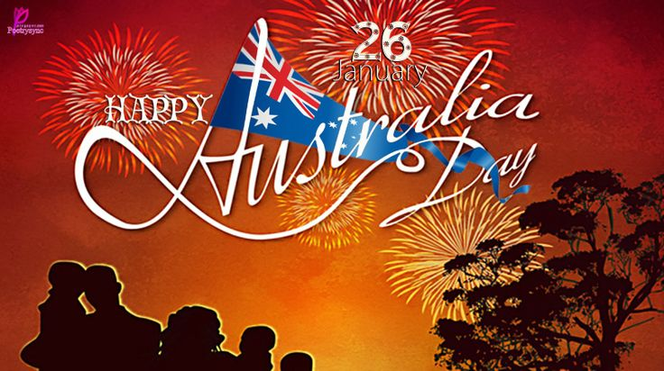 Happy Australia Day Night Fireworks Card with Wishes Greetings Australia flag