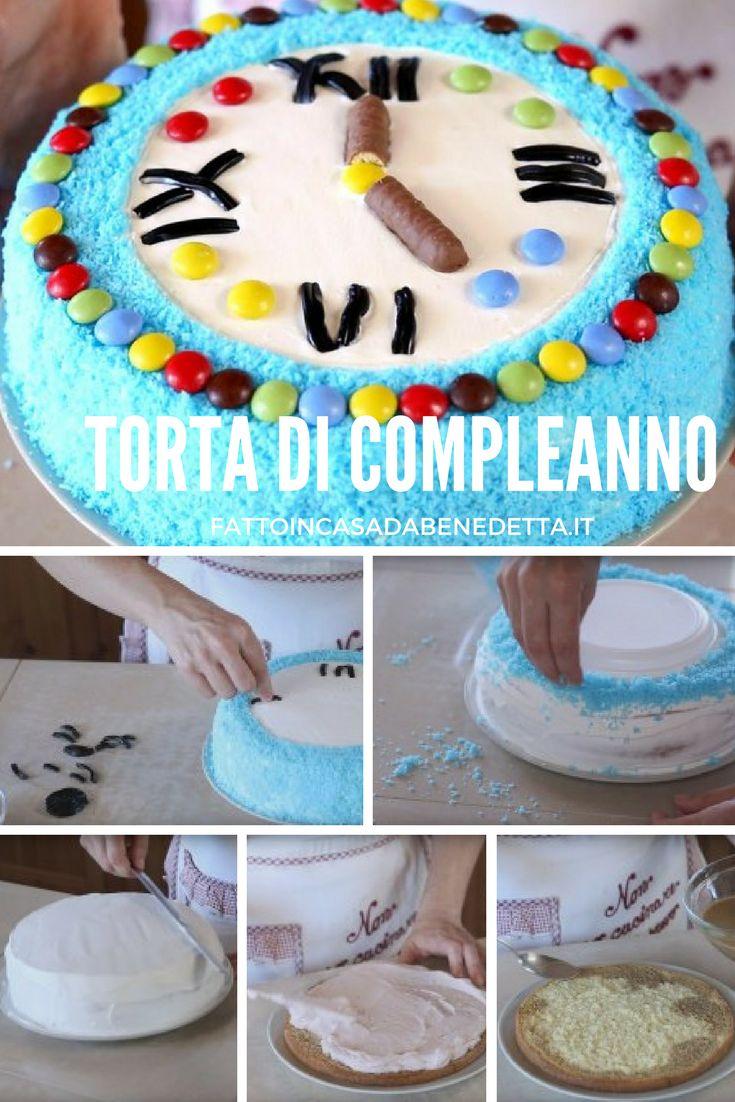 Torta di compleanno per bambini, a forma di orologio, ricetta facile e divertente.