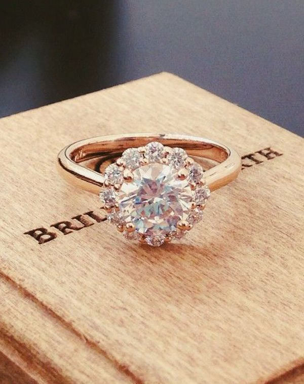 round cut vintage rose gold diamond wedding engagement rings