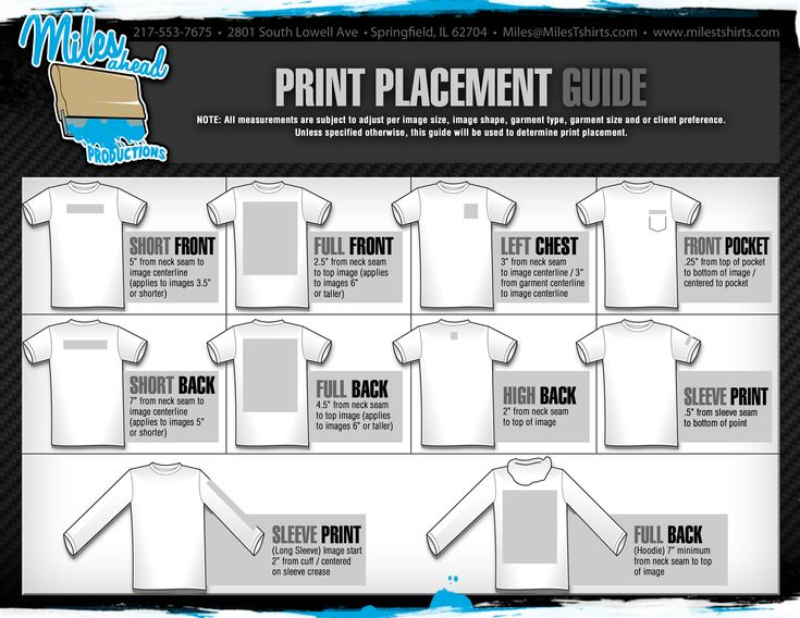 Image Result For Custom T Shirt Print Area Pricing Guide